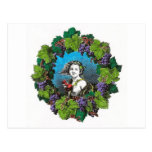 Victorian style boy in grape wreath post cards