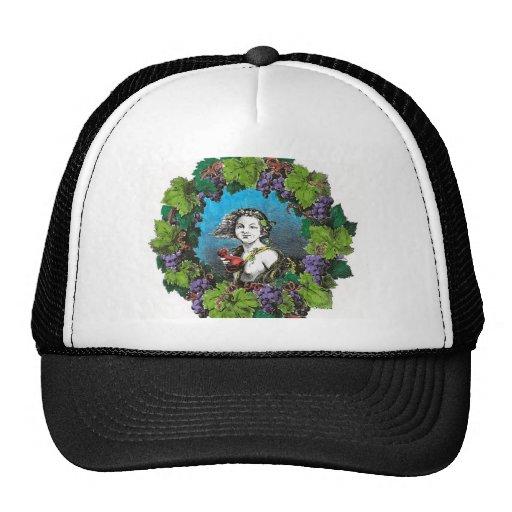 Victorian style boy in grape wreath trucker hat
