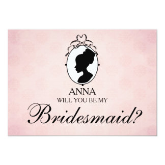 Victorian Style Cameo Will You Be My Bridesmaid Card