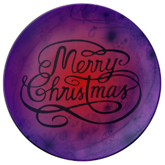 Victorian Style Merry Christmas Decorative Plate Porcelain Plate
