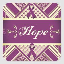 Victorian Style Pan Cancer Awareness Products. Square Sticker