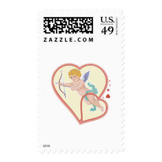 victorian style romantic cupid postage