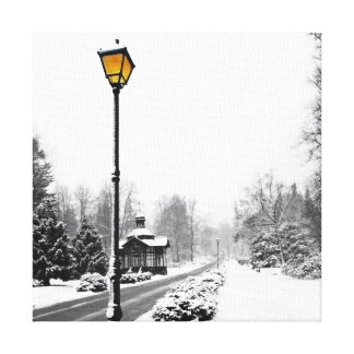 Victorian Style Street Lamp in Snowscape Canvas Print