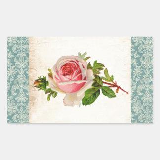 Victorian subió y damasco pegatina rectangular