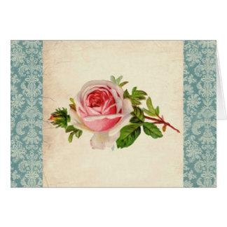 Victorian subió y damasco tarjeta de felicitación