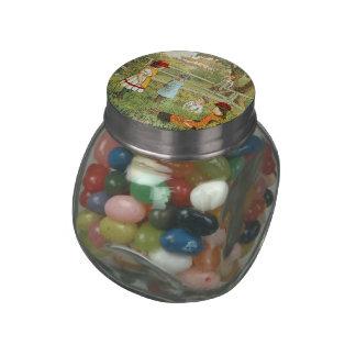 Victorian summer, children playing in the grass glass jars