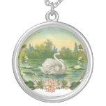 Victorian Swan Round Pendant Necklace