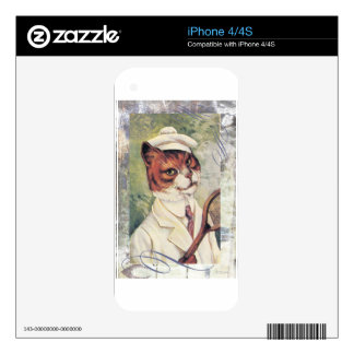 Victorian Tabby Cat Tennis Player Racquet Ball Decal For The iPhone 4S