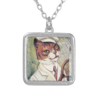 Victorian Tabby Cat Tennis Player Racquet Ball Square Pendant Necklace