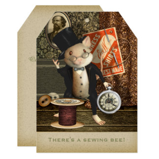 Victorian Tailor Mouse - Sewing Bee Card