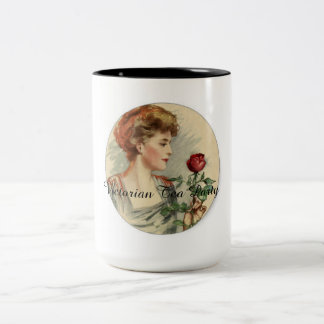 """Victorian Tea Cup Party """"Lady with a rose"""" Coffee Mugs"""