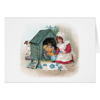 Victorian Tea Party in Doghouse Card