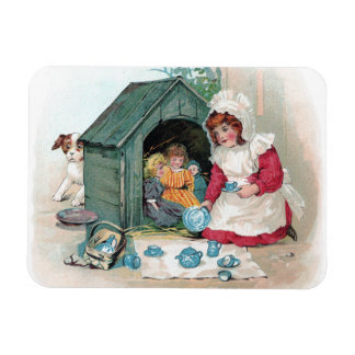 Victorian Tea Party in Doghouse Magnet