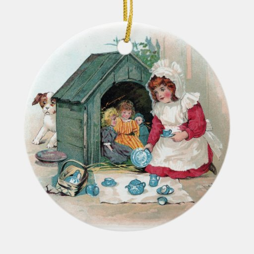 Victorian Tea Party in Doghouse Double-Sided Ceramic Round Christmas Ornament