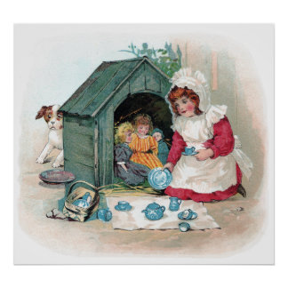 Victorian Tea Party in Doghouse Poster