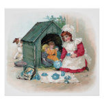 Victorian Tea Party in Doghouse Posters
