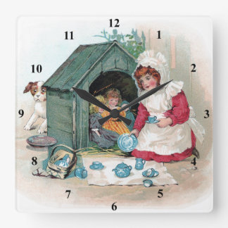 Victorian Tea Party in Doghouse Square Wall Clock