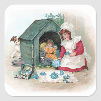 Victorian Tea Party in Doghouse Round Stickers