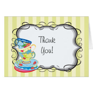Victorian tea party thank you notes greeting card