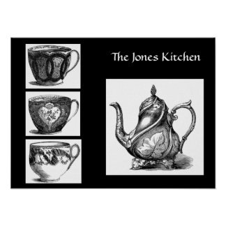 Victorian Tea Pot and Cups Poster