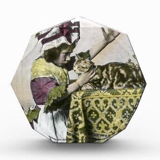 Victorian Tea Time With Kitty Tea Party Vintage Acrylic Award