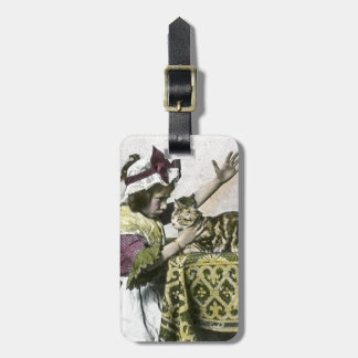 Victorian Tea Time With Kitty Tea Party Vintage Bag Tag
