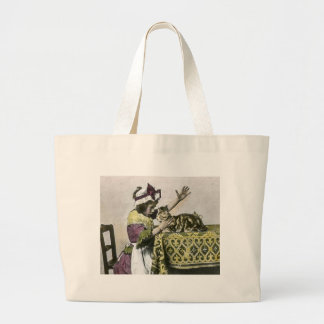 Victorian Tea Time With Kitty Tea Party Vintage Large Tote Bag