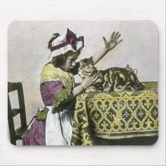 Victorian Tea Time With Kitty Tea Party Vintage Mouse Pad