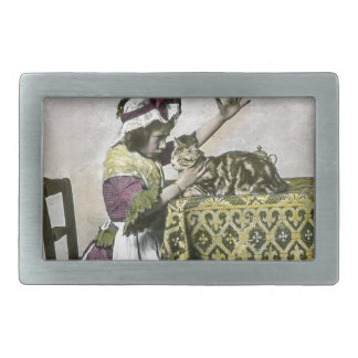 Victorian Tea Time With Kitty Tea Party Vintage Rectangular Belt Buckle