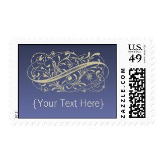 Victorian Thistle Blue Designer Postage