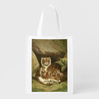 Victorian Tigers etching Market Tote