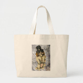 Victorian Top Hat Party Dog Celebrate Large Tote Bag