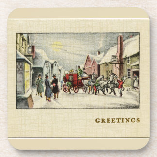Victorian Town Christmas Beverage Coaster