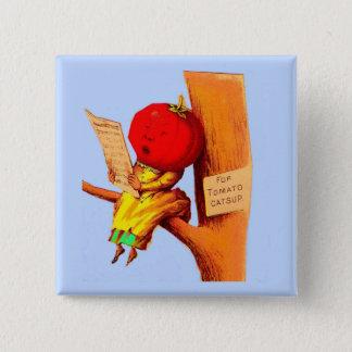 Victorian trade card tomato head woman button