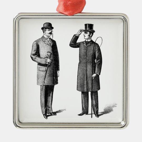 Victorian Two gentlemen Adorno Navideño Cuadrado De Metal