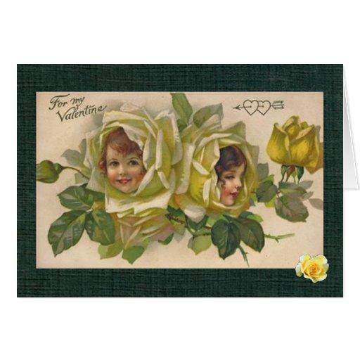 Victorian Valentine 2 Girls Yellow Roses Card