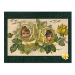 Victorian Valentine 2 Girls Yellow Roses Postcard