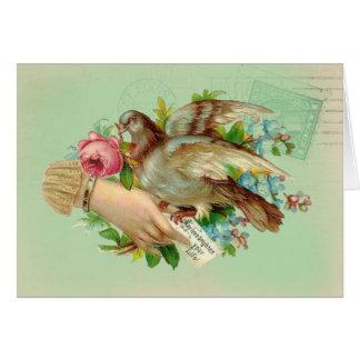 Victorian Valentine Bird and rose Happy Birthday Greeting Cards