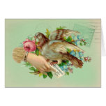 Victorian Valentine Bird and rose,Mothers Day Greeting Cards