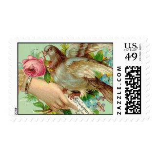 Victorian Valentine Bird and rose Postage Stamps