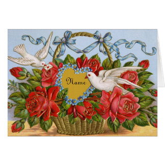 Victorian Valentine Card - Personalize with Name