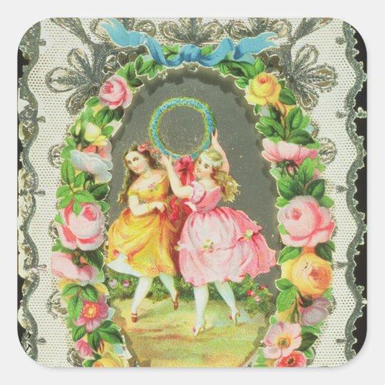 Victorian Valentine Card Square Sticker