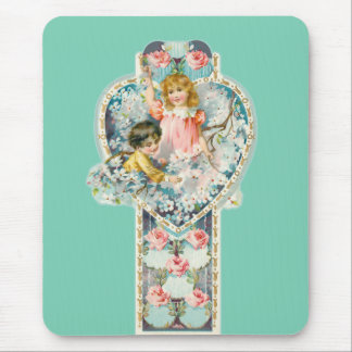 Victorian Valentine Children Roses Blossoms Heart Mouse Pad