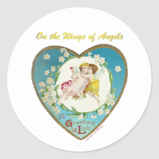 Victorian Valentine On the Angels of Angels Gifts Classic Round Sticker