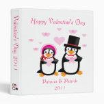 Victorian Valentine Penguins Customizable Binder