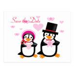 Victorian Valentine Penguins Save The Date Postcar Postcard