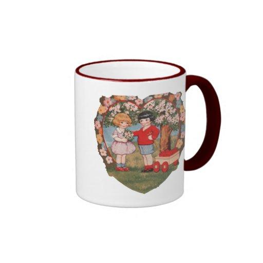 Victorian Valentine Ringer Coffee Mug