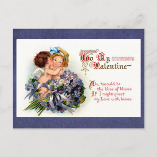"Victorian Valentine ""The Bliss of Kisses"" Cupids Holiday Postcard"