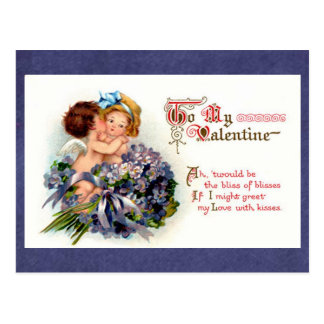 "Victorian Valentine ""The Bliss of Kisses"" Cupids Postcard"