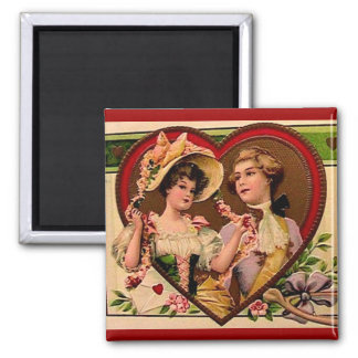 Victorian Valentines Couple 2 Inch Square Magnet